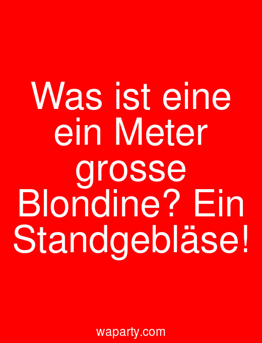 Was ist eine ein Meter grosse Blondine? Ein Standgebläse!