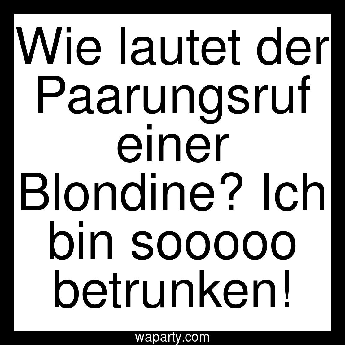 Wie lautet der Paarungsruf einer Blondine? Ich bin sooooo betrunken!
