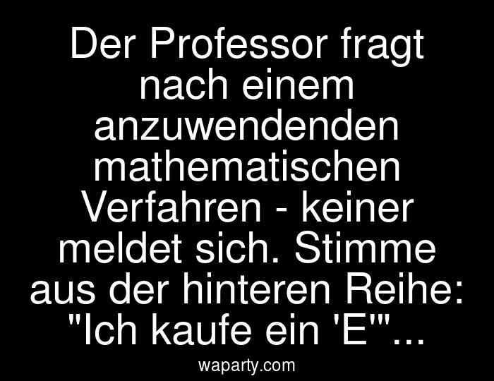 Der Professor fragt nach einem anzuwendenden mathematischen Verfahren - keiner meldet sich. Stimme aus der hinteren Reihe: Ich kaufe ein E...