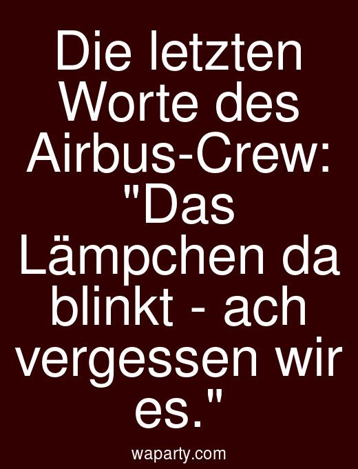 Die letzten Worte des Airbus-Crew: Das Lämpchen da blinkt - ach vergessen wir es.