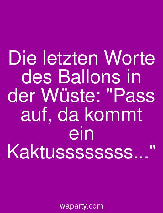 Die letzten Worte des Ballons in der Wüste: Pass auf, da kommt ein Kaktussssssss...