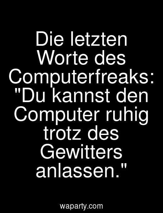 Die letzten Worte des Computerfreaks: Du kannst den Computer ruhig trotz des Gewitters anlassen.