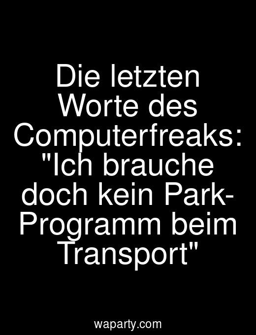 Die letzten Worte des Computerfreaks: Ich brauche doch kein Park- Programm beim Transport