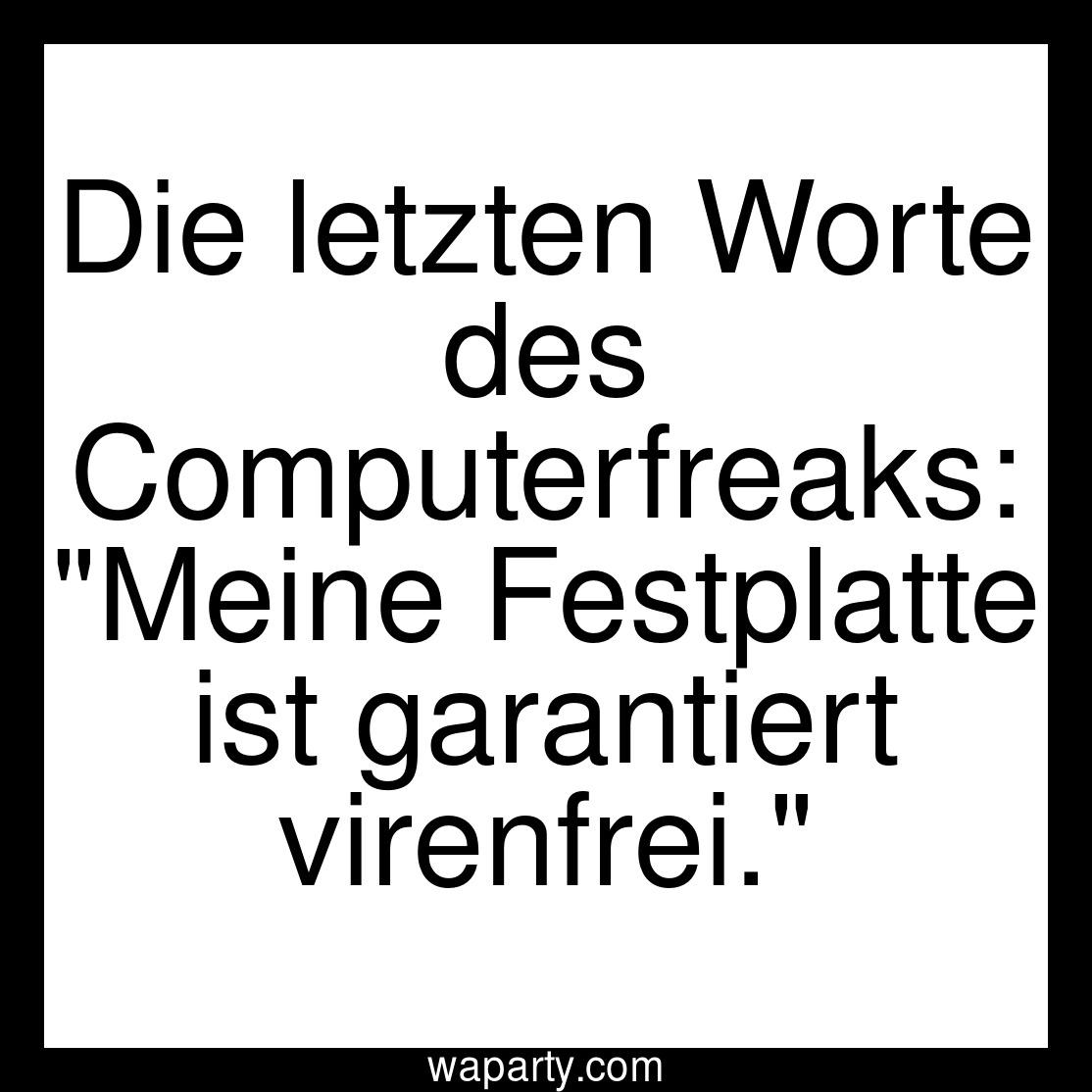 Die letzten Worte des Computerfreaks: Meine Festplatte ist garantiert virenfrei.
