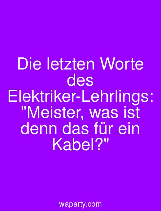 Die letzten Worte des Elektriker-Lehrlings: Meister, was ist denn das für ein Kabel?