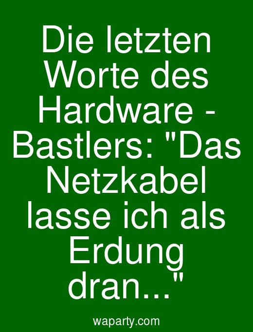 Die letzten Worte des Hardware - Bastlers: Das Netzkabel lasse ich als Erdung dran...