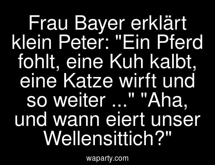 Frau Bayer erklärt klein Peter: Ein Pferd fohlt, eine Kuh kalbt, eine Katze wirft und so weiter ... Aha, und wann eiert unser Wellensittich?