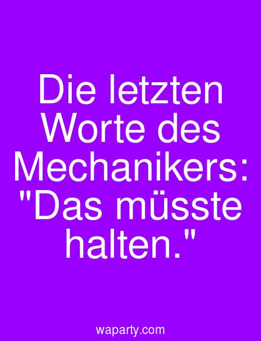 Die letzten Worte des Mechanikers: Das müsste halten.