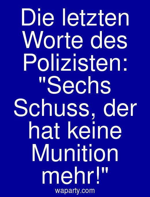 Die letzten Worte des Polizisten: Sechs Schuss, der hat keine Munition mehr!