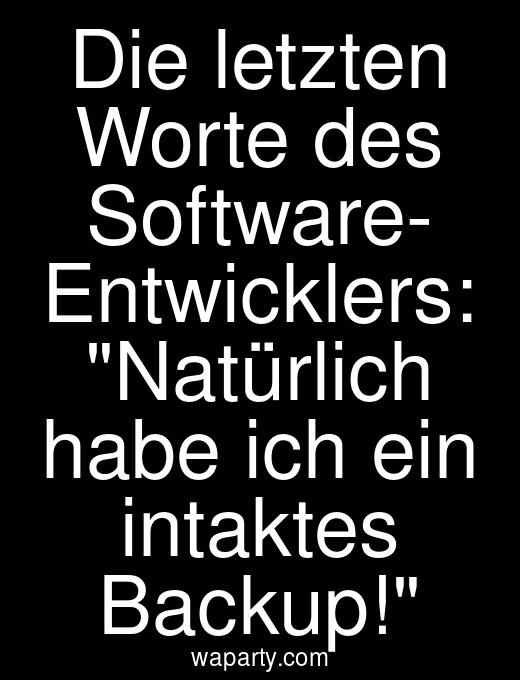 Die letzten Worte des Software- Entwicklers: Natürlich habe ich ein intaktes Backup!