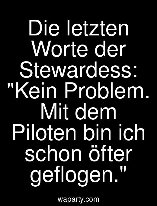 Die letzten Worte der Stewardess: Kein Problem. Mit dem Piloten bin ich schon öfter geflogen.