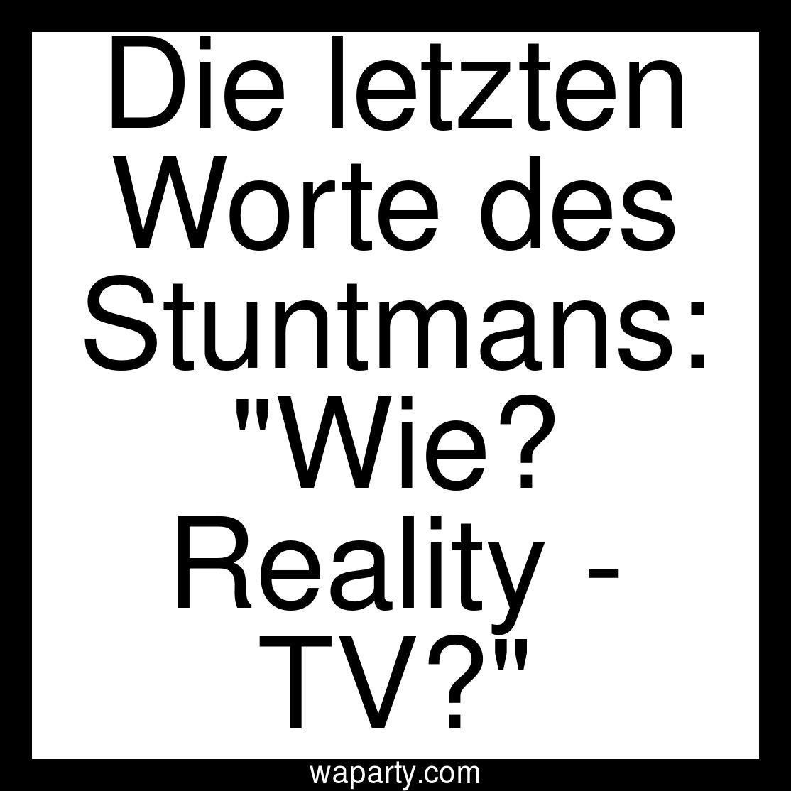 Die letzten Worte des Stuntmans: Wie? Reality - TV?