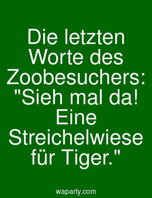 Die letzten Worte des Zoobesuchers: Sieh mal da! Eine Streichelwiese für Tiger.