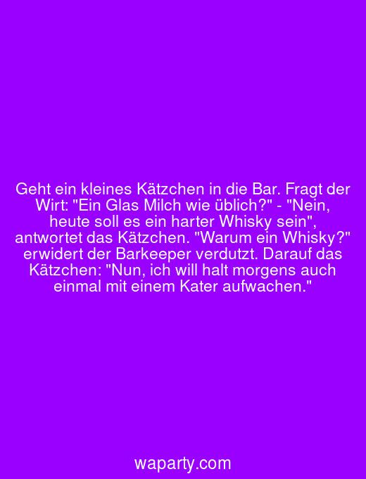 Geht ein kleines Kätzchen in die Bar. Fragt der Wirt: Ein Glas Milch wie üblich? - Nein, heute soll es ein harter Whisky sein, antwortet das Kätzchen. Warum ein Whisky? erwidert der Barkeeper verdutzt. Darauf das Kätzchen: Nun, ich will halt morgens auch einmal mit einem Kater aufwachen.