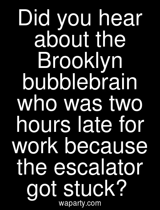 Did you hear about the Brooklyn bubblebrain who was two hours late for work because the escalator got stuck?