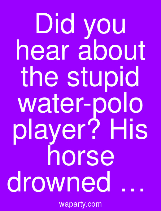 Did you hear about the stupid water-polo player? His horse drowned …