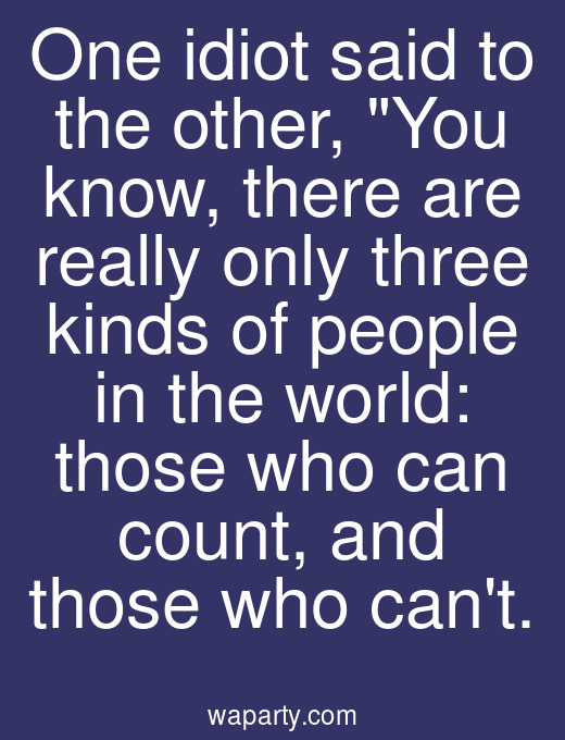 One idiot said to the other, You know, there are really only three kinds of people in the world: those who can count, and those who cant.