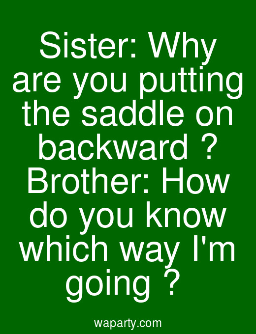 Sister: Why are you putting the saddle on backward ? Brother: How do you know which way Im going ?
