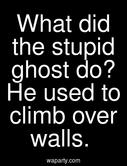 What did the stupid ghost do? He used to climb over walls.