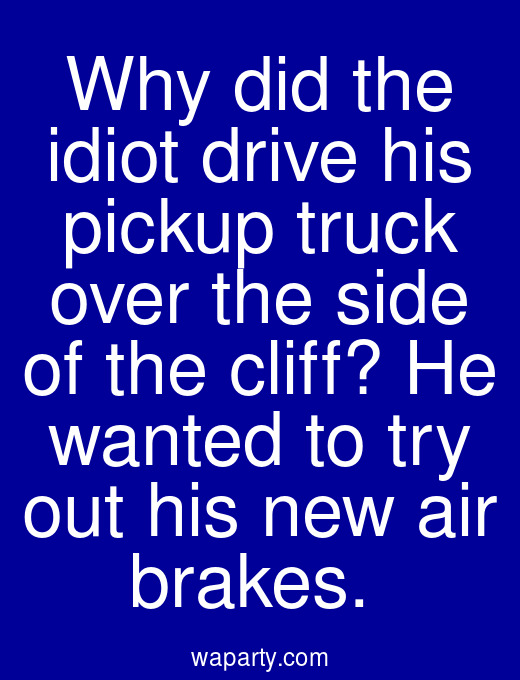 Why did the idiot drive his pickup truck over the side of the cliff? He wanted to try out his new air brakes.