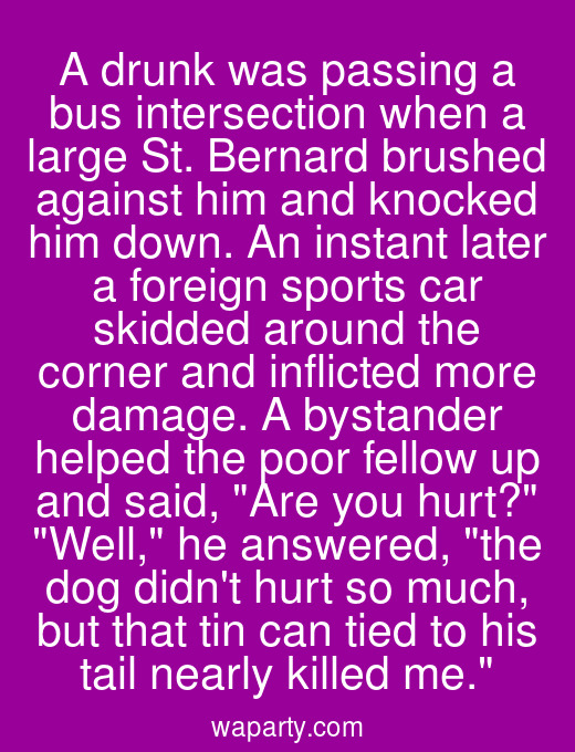 A drunk was passing a bus intersection when a large St. Bernard brushed against him and knocked him down. An instant later a foreign sports car skidded around the corner and inflicted more damage. A bystander helped the poor fellow up and said, Are you hurt? Well, he answered, the dog didnt hurt so much, but that tin can tied to his tail nearly killed me.
