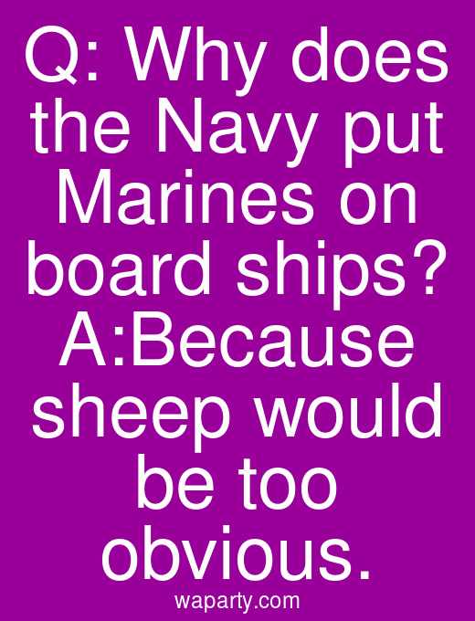 Q: Why does the Navy put Marines on board ships? A:Because sheep would be too obvious.