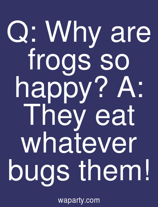 Q: Why are frogs so happy? A: They eat whatever bugs them!