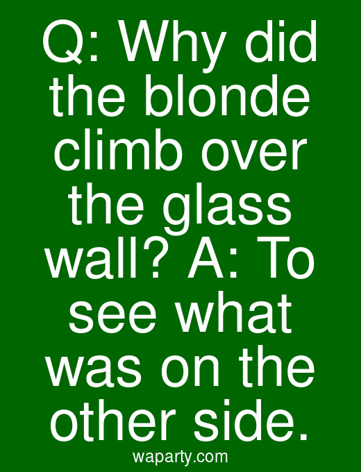 Q: Why did the blonde climb over the glass wall? A: To see what was on the other side.