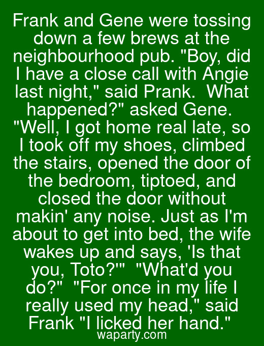Frank and Gene were tossing down a few brews at the neighbourhood pub. Boy, did I have a close call with Angie last night, said Prank.  What happened? asked Gene.  Well, I got home real late, so I took off my shoes, climbed the stairs, opened the door of the bedroom, tiptoed, and closed the door without makin any noise. Just as Im about to get into bed, the wife wakes up and says, Is that you, Toto?  Whatd you do?  For once in my life I really used my head, said Frank I licked her hand.
