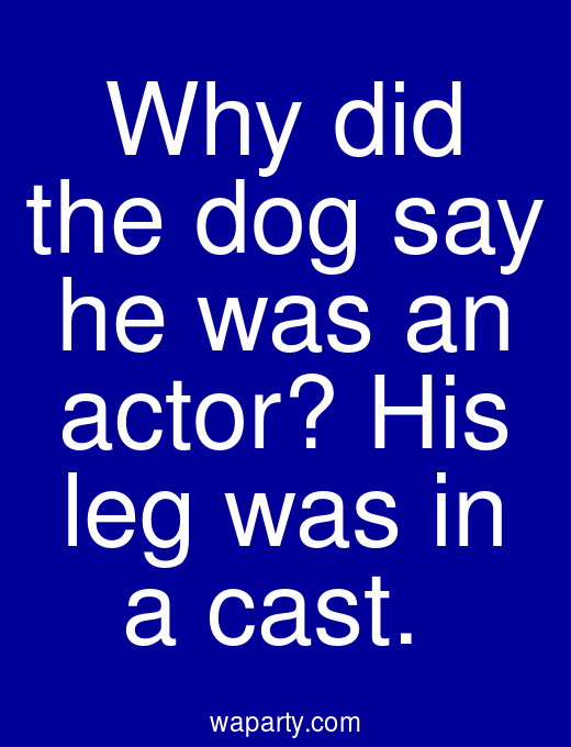 Why did the dog say he was an actor? His leg was in a cast.