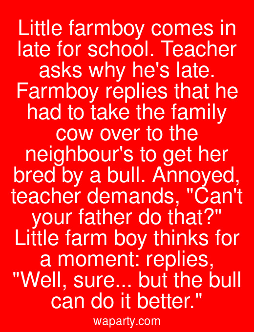 Little farmboy comes in late for school. Teacher asks why hes late. Farmboy replies that he had to take the family cow over to the neighbours to get her bred by a bull. Annoyed, teacher demands, Cant your father do that? Little farm boy thinks for a moment: replies, Well, sure... but the bull can do it better.