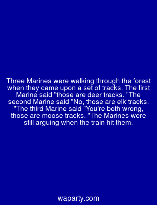 Three Marines were walking through the forest when they came upon a set of tracks. The first Marine said those are deer tracks. The second Marine said No, those are elk tracks. The third Marine said Youre both wrong, those are moose tracks. The Marines were still arguing when the train hit them.