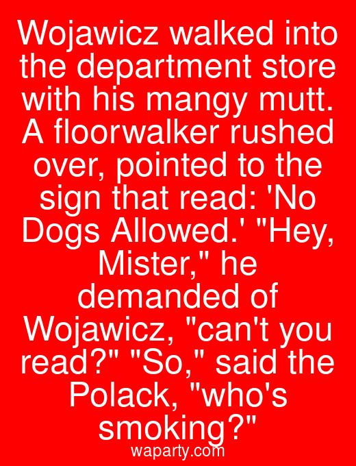 Wojawicz walked into the department store with his mangy mutt. A floorwalker rushed over, pointed to the sign that read: No Dogs Allowed. Hey, Mister, he demanded of Wojawicz, cant you read? So, said the Polack, whos smoking?