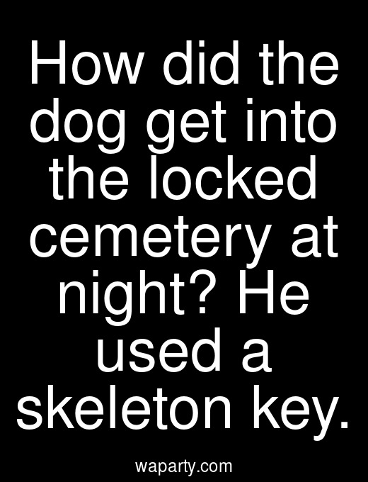 How did the dog get into the locked cemetery at night? He used a skeleton key.