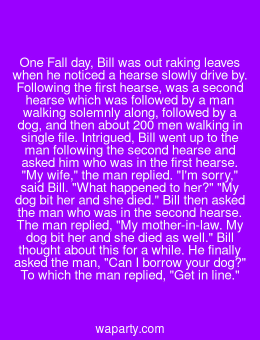 One Fall day, Bill was out raking leaves when he noticed a hearse slowly drive by. Following the first hearse, was a second hearse which was followed by a man walking solemnly along, followed by a dog, and then about 200 men walking in single file. Intrigued, Bill went up to the man following the second hearse and asked him who was in the first hearse. My wife, the man replied. Im sorry, said Bill. What happened to her? My dog bit her and she died. Bill then asked the man who was in the second hearse. The man replied, My mother-in-law. My dog bit her and she died as well. Bill thought about this for a while. He finally asked the man, Can I borrow your dog? To which the man replied, Get in line.