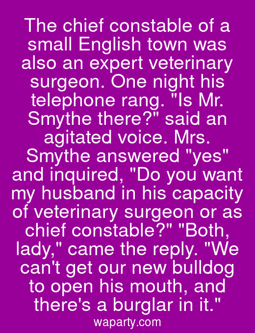 The chief constable of a small English town was also an expert veterinary surgeon. One night his telephone rang. Is Mr. Smythe there? said an agitated voice. Mrs. Smythe answered yes and inquired, Do you want my husband in his capacity of veterinary surgeon or as chief constable? Both, lady, came the reply. We cant get our new bulldog to open his mouth, and theres a burglar in it.
