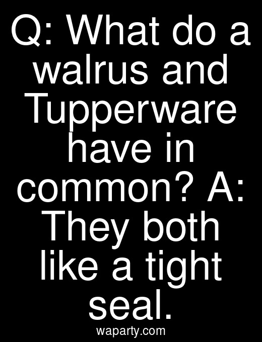 Q: What do a walrus and Tupperware have in common? A: They both like a tight seal.
