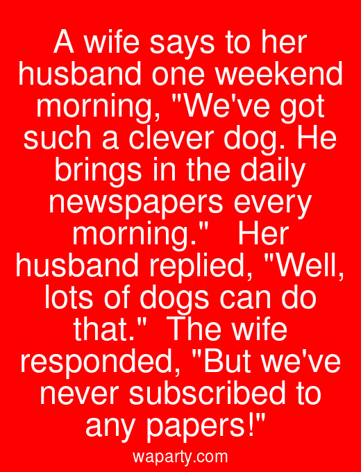 A wife says to her husband one weekend morning, Weve got such a clever dog. He brings in the daily newspapers every morning.   Her husband replied, Well, lots of dogs can do that.  The wife responded, But weve never subscribed to any papers!