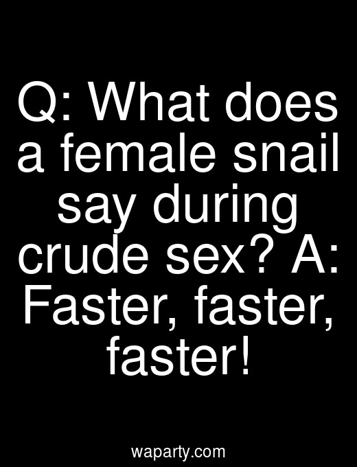 Q: What does a female snail say during crude sex? A: Faster, faster, faster!