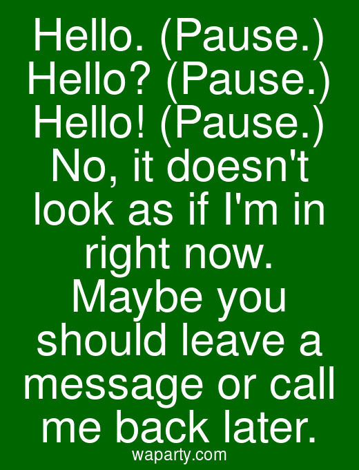 Hello. (Pause.) Hello? (Pause.) Hello! (Pause.) No, it doesnt look as if Im in right now. Maybe you should leave a message or call me back later.