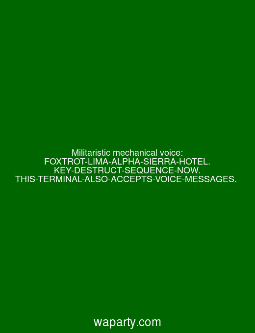 Militaristic mechanical voice: FOXTROT-LIMA-ALPHA-SIERRA-HOTEL. KEY-DESTRUCT-SEQUENCE-NOW. THIS-TERMINAL-ALSO-ACCEPTS-VOICE-MESSAGES.