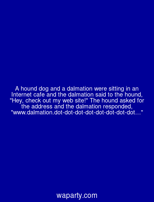 A hound dog and a dalmation were sitting in an Internet cafe and the dalmation said to the hound, Hey, check out my web site! The hound asked for the address and the dalmation responded, www.dalmation.dot-dot-dot-dot-dot-dot-dot-dot…