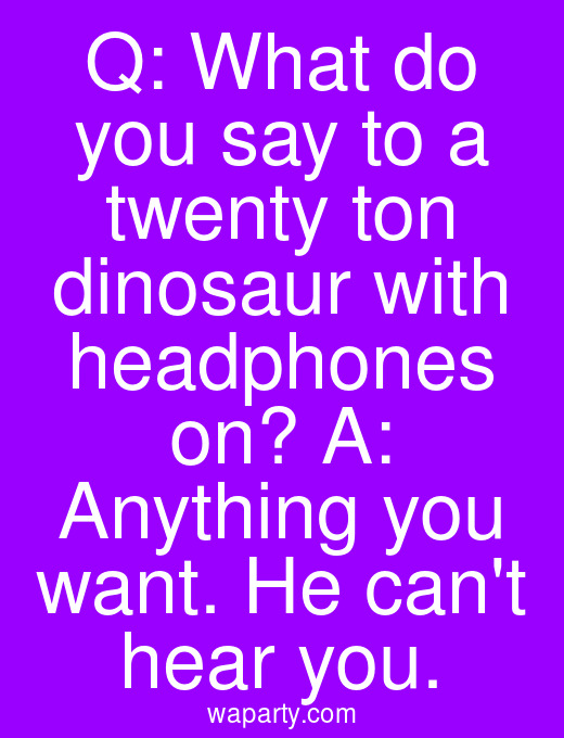 Q: What do you say to a twenty ton dinosaur with headphones on? A: Anything you want. He cant hear you.