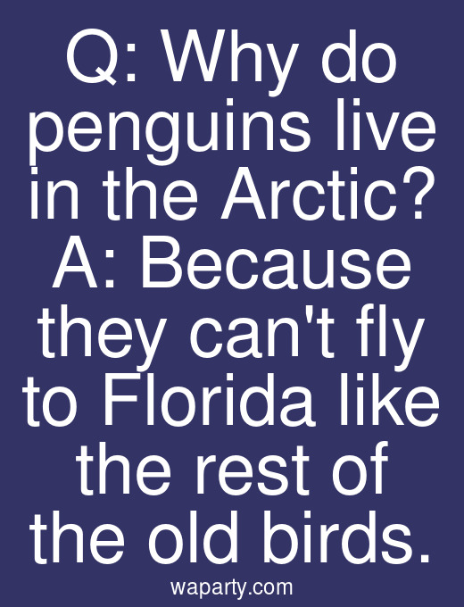 Q: Why do penguins live in the Arctic? A: Because they cant fly to Florida like the rest of the old birds.