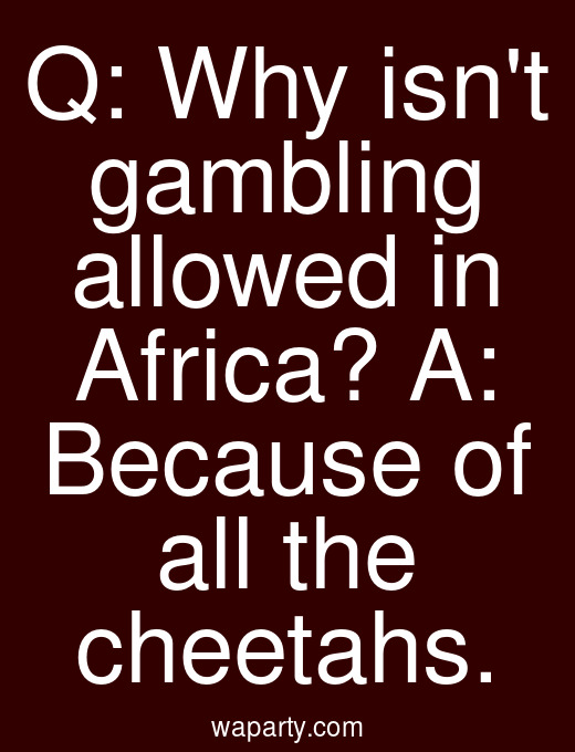 Q: Why isnt gambling allowed in Africa? A: Because of all the cheetahs.