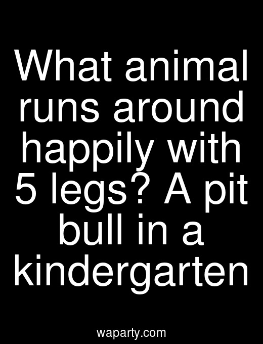 What animal runs around happily with 5 legs? A pit bull in a kindergarten