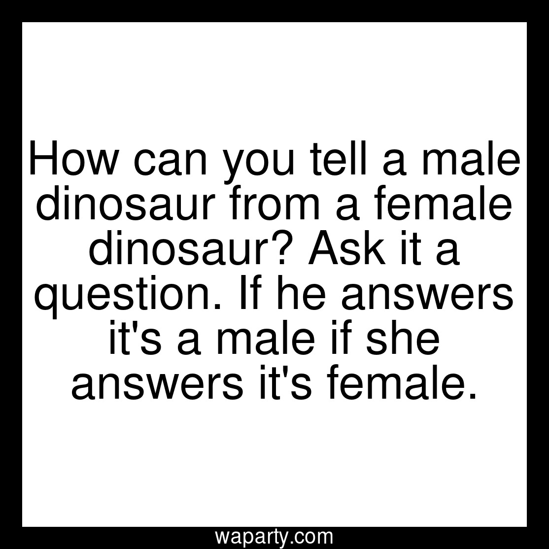 How can you tell a male dinosaur from a female dinosaur? Ask it a question. If he answers its a male if she answers its female.