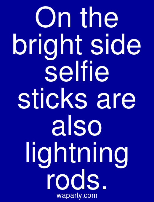 On the bright side selfie sticks are also lightning rods.