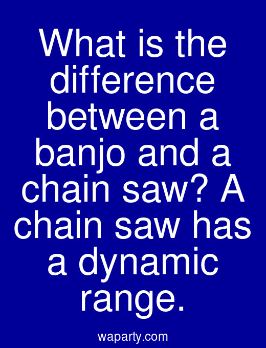 What is the difference between a banjo and a chain saw? A chain saw has a dynamic range.