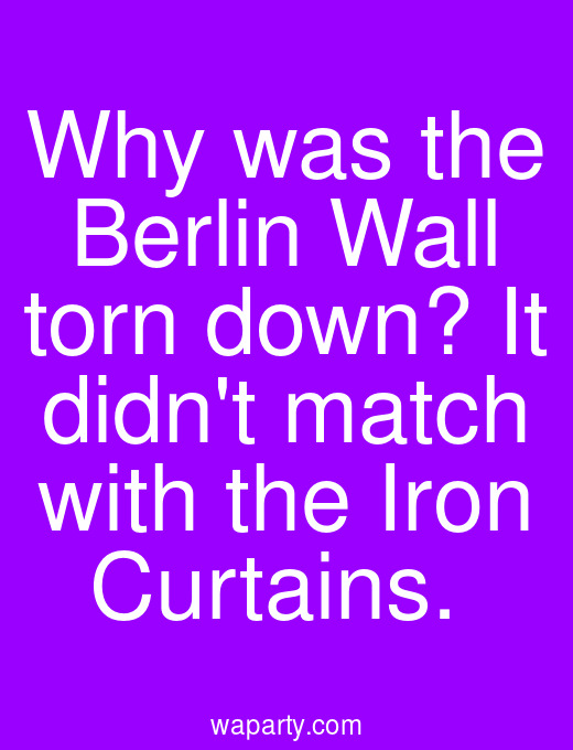 Why was the Berlin Wall torn down? It didnt match with the Iron Curtains.